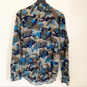 ZARA Slim Camo Print Banded Collar Shirt Large
